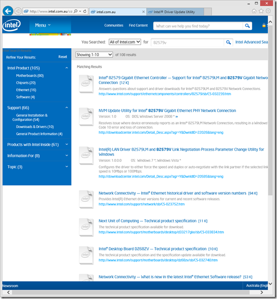 Intel Search Results