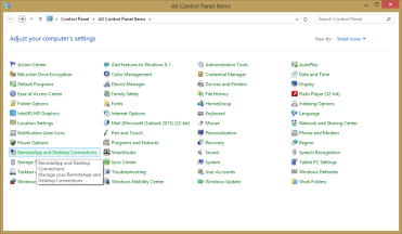 RemoteApp and Desktop Connections in Windows 8 1 24/81