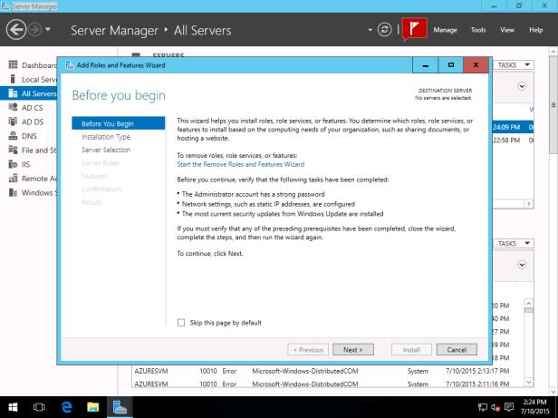 Windows Server 2016 Essentials TP3 Integration With Azure